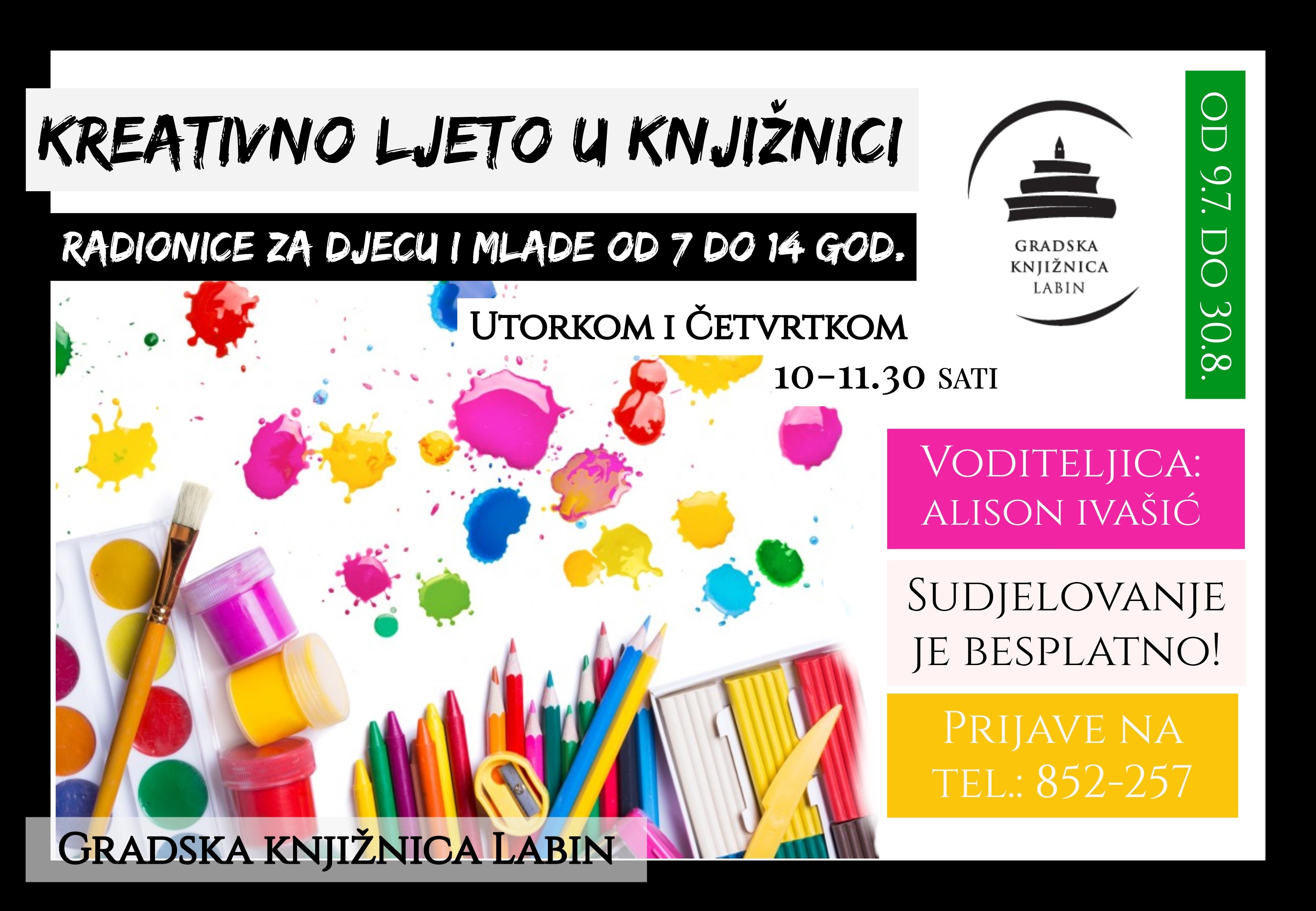 """""""KREATIVNO LJETO U KNJIŽNICI """" Ljetne likovno-kreativne radionice za osnovnoškolce"""